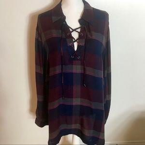 LANE BRYANT Plus Size Plaid long Sleeve Tunic 18